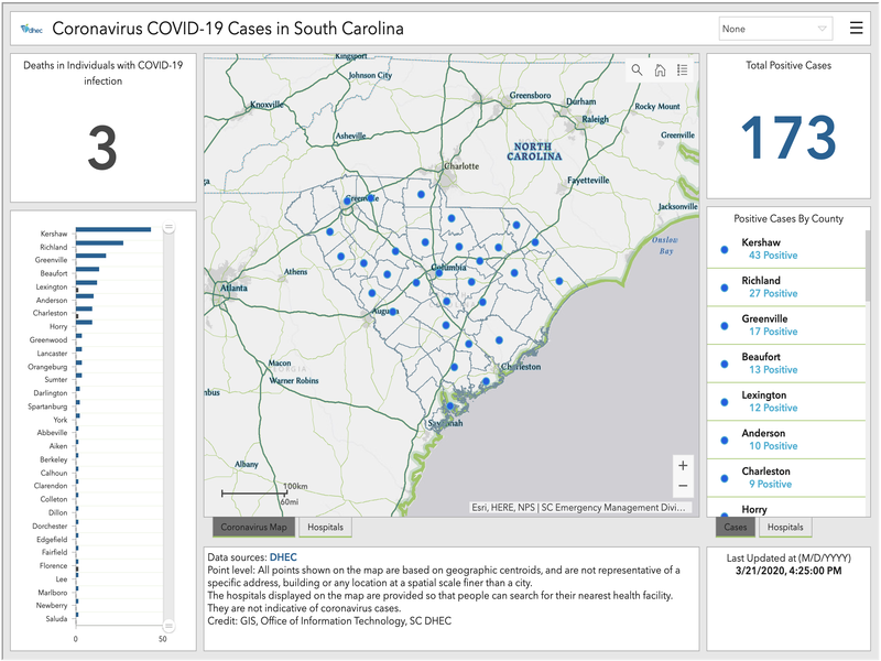 Live Interactive Map of Coronavirus Cases South Carolina